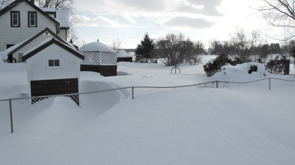 With virtually no thaws this winter, the snow accumulation around the farm has been enormous..