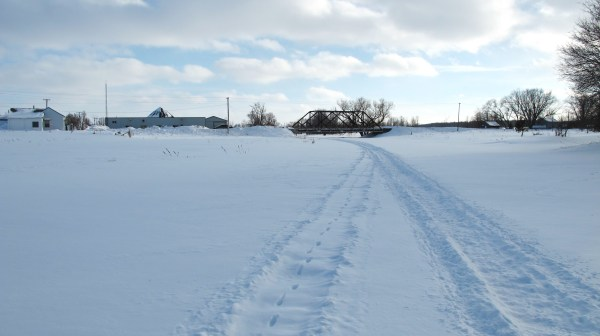 """passing snowmobiles earlier in the day cut an """"upstream""""path"""
